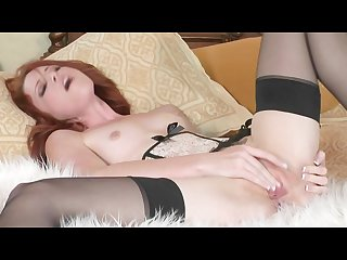 Horny young redhead babe elle alexandra rubs her pink pussy