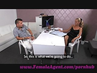 Femaleagent stud struggles to avoid spilling his seed