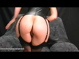 Sexy milf takes off leather pants and plays with her juicy lady lips