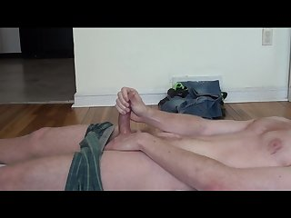 Horny stud peeing all over himself while hard