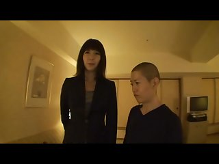 Tall asian meets short guy and gives him standing handjob