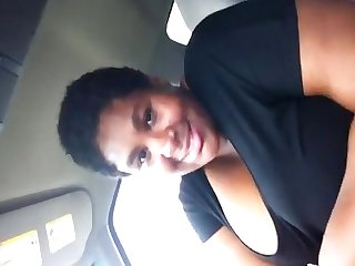 Amateur ebony bbw gives blowjob in car with her huge boobs out