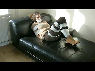 Bondage girl with white tape