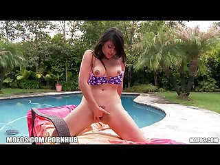 Mofos natural asian chick toys her pussy by the pool