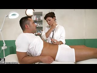 Doctor sucking her patients big cock to cure him