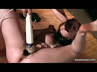 Brunette sex slave has pussy flogged before hitatchi magic wand orgasm