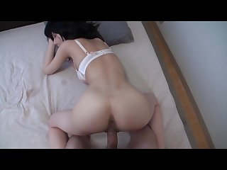 Petite amateur Japanese MILF squeals and takes in a big creampie