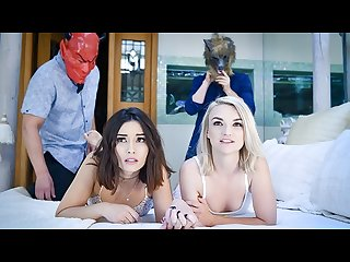 Daughterswap step Dads finger daughters in masks