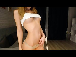 Russian camgirl strips to show off her perfect body and masturbate