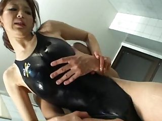 Black swimsuit fucking on the floor