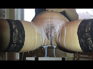 Milk pouring over my hot juicy pussy and dildo fucking in a real slowmo