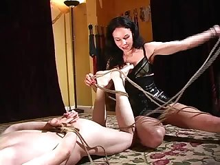 Mistress binds her slave