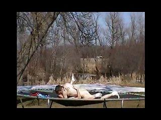 Backyard trampoline sex