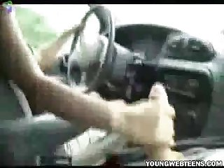 Girl Driving car and jerks boyfriend S cock