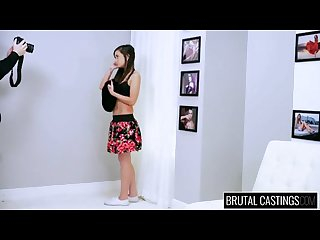 Cute face babe brutal casting