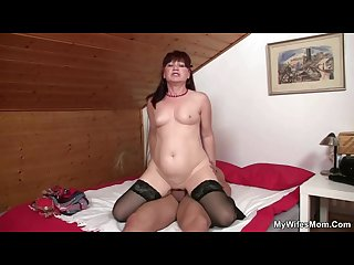 She finds mom sitting on her man S cock