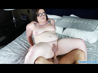 Fat shemale Michelle rides hard cock