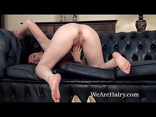 Jenny smith slowly undresses on couch