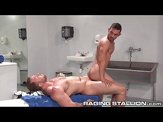 Ragingstallion hairy hole fucked in locker room