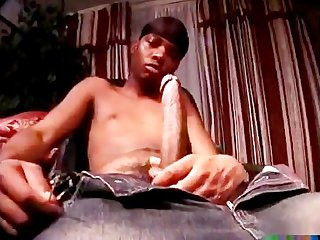 Cute black dude selfsuck taste his own cum