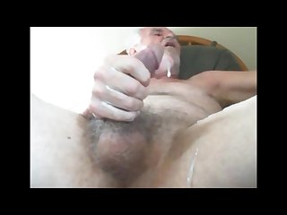 Old guy unloading his hairy balls