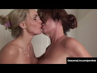 Busty milf deauxma has pussy licking bath with tanya tate