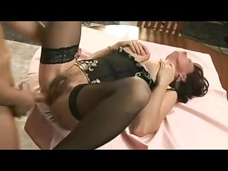 Elegant granny with hairy snatch fucked