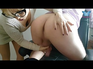 Wicked secretary lick ass of her boss with passion and milks his cock dry