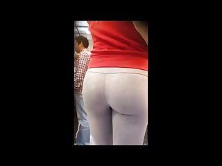 Blonde bubble butt in white yoga pants