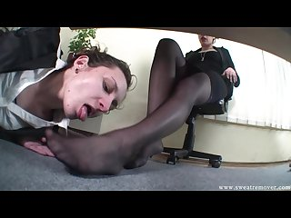 Slave girl worship boss feet