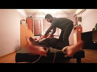 Hot guy feet tickle tortured in sneakers, black socks and bare feet