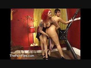 Kinky lesbian domination and lezdom whipping of dark latina submissive