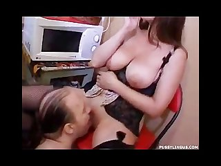 Busty babe smoking and pussy licking