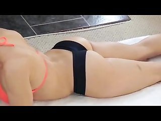 Sexiest massage video with female bodybuilder fitness model