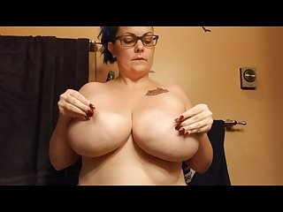 Slapping her big natural tits thicc amateur with H cup boobies purplezebra