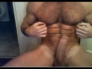 Fuckin hot hairy hung verbal daddy busts a nut