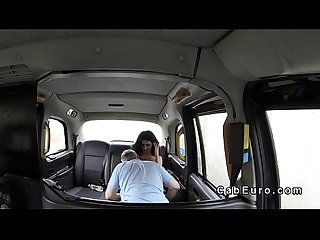 Big fake tits babe flashing in fake taxi