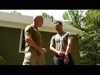 Dad and son cum outdoor