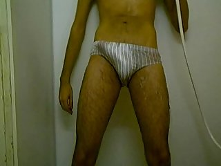 Young in shower
