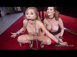 Gagged small tits slave anal fucked in threesome