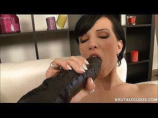 Tall Russian fills her mouth and asshole with brutal dildos