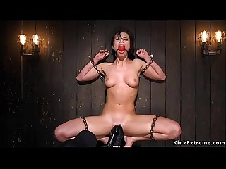 Hot ass babe in backbend bondage toyed