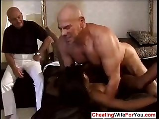 Ebony wife fucked by two white dudes