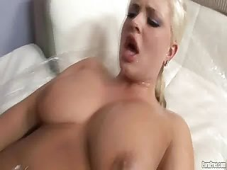 Busty blonde gets pussy creamed