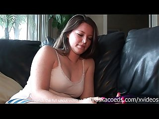 Perfect girl next door banging herself out on my black couch