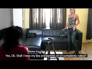 Blonde casting babe receives oral from brunette casting director