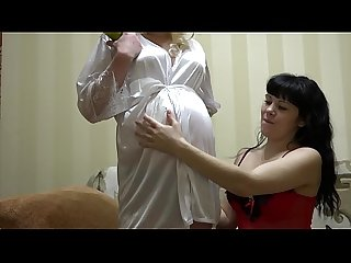 Lesbian with cream caresses pregnant girlfriend with big belly and masturbates hairy pussy...