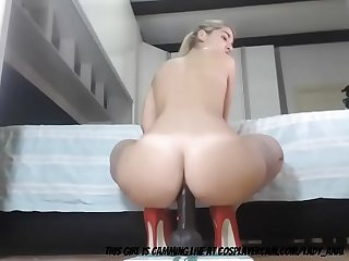 Milf stretching her ass with a dildo period period period