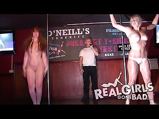 Lots of Sexy babes stripping on stage for A Hot wet t shirt contest