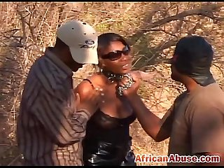 Black African abused outdoor tied sucks rides